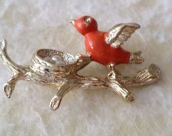 STUNNING Vintage Gold Tone Gerry's Nest Bird On Branch Pin Brooch