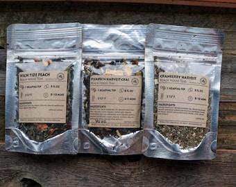 Pick three loose leaf tea artisan gift set: three flavors, organic, natural hand-blended at the Washington coast