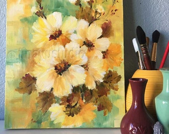 oil floral painting, original oil painting, flower oil painting, oil on canvas, wrapped canvas, yellow flower painting, abstract flower arts