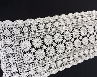 White Vintage Crochet Lace Rectangular Table Runner RBT1588