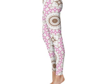 Workout Leggings for Women - White Leggings With Designs on Them, Printed Mandala Yoga Pants
