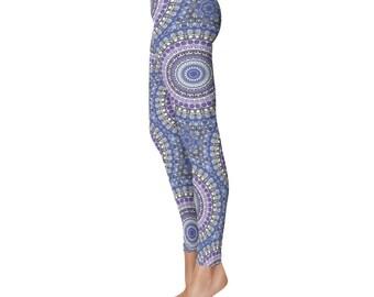 Medallion Print Leggings - Festival Yoga Pants, Blue and Purple Tribal Leggings, Kaleidoscopic Blue Mandala Pattern Bohemian Yoga Leggings