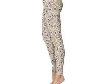 Stretch Yoga Pants Women - Mardi Gras Leggings Printed in Purple and Green Kaleidoscope Pattern
