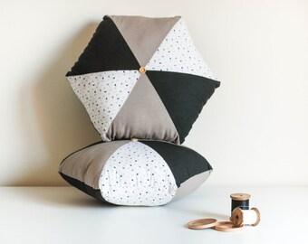 Cushion hexagonal black mole and white - hexagonal cushion