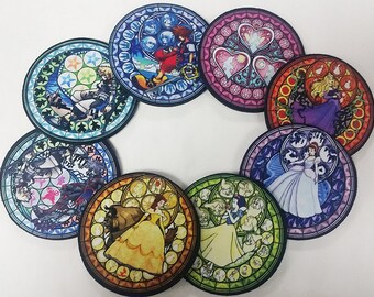 Set of 8 Neoprene Kingdom Hearts Stained Glass Coasters Dive to the Heart