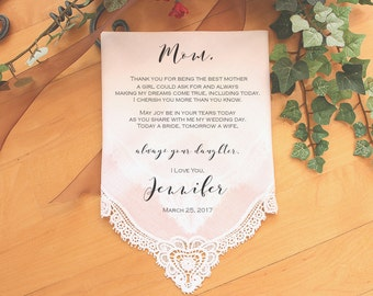 Mother of the Bride Handkerchief-Wedding Hankerchief-PRINTED-CUSTOMIZED-Wedding Hankies-Mother of the Bride Gift-LS11PadCop