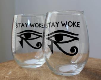 "Spoutless ""Stay Woke"" glasses (set of 2)"