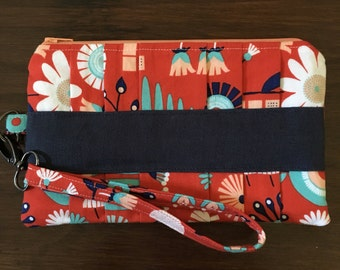 Red Floral Pleated Clutch