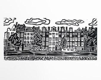 CLEARANCE: Amsterdam (Original Linocut Print)
