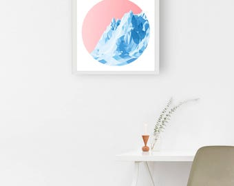 ICEBOAT - Sunrise - Art Fine Print - Giclee - Geometric Icebarg - Limited edition FREE Uk SHIPPING