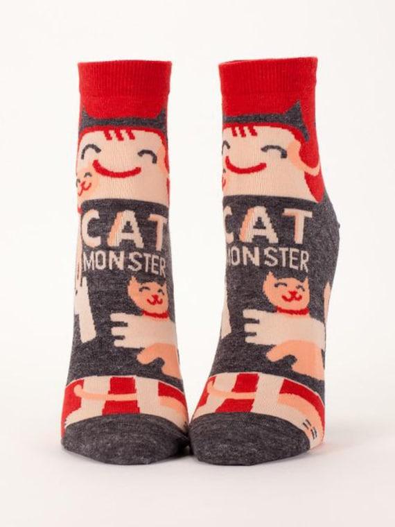Cat Monster, Coffee Monster, Sugar Monster, Pot Monster, Shoe Monster ANKLE SOCKS,  Christmas Gifts