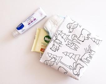 Sale, Woodland Nappy Change Bag, Colour Me Nappy Bag, Travel Changing Bag, Wetbag Zipper Pouch, Storage Makeup Bag, Diaper Bag, Black White