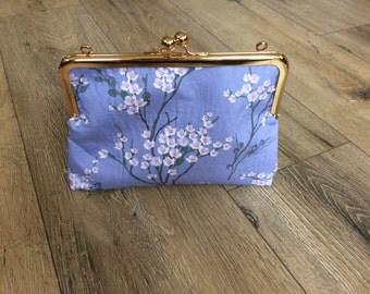 Cherry blossom bag, floral bag, floral clutch, cherry blossom print, cherry blossom gift, kiss lock clutch