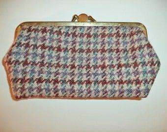 Granny eye glass case or wallet// 60s vintage two fold snap womens tweed wool//  Bovey Handloom Weavers, Devon Scotland