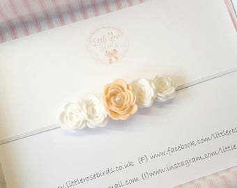 Baby/Girl Mini Felt Rose Headband on Skinny Elastic, Flower Girl, Flower Headband, Christening - Wedding-Rose Headband- Made In Any Colour!