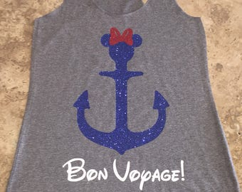 Minnie Mouse Mickey Mouse Cruise Disney Inspired Bon Voyage Anchor Tank Tops Shirts Womens Custom Personalized Vacation Gift Family