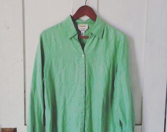 Light Green Silk Blouse/ Talbots Light Green Silk Top/ Green Silk Shirt Medium/ Vintage Silk Blouse
