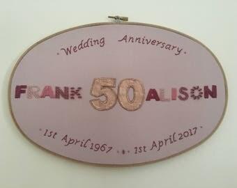 50th Wedding Anniversary Embroidery Hoop