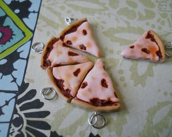 Polymer clay cheese pizza charm / bracelet / earrings / keychain