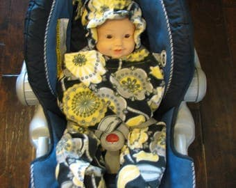Yellow and Grey Flower Print Snuggle Wrap