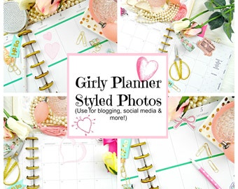 Pink & Girly Styled Stock Photos, Styled Planner Desktop, Planner Images, Styled Images for Instagram, Blogging, Websites