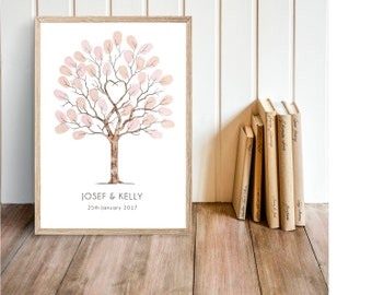 """A4 Fingerprint Tree Guest Book  """"Unity Tree"""" watercolour . A4 size incl 2 ink pads.  Personalised with names and dates. FREE delivery Aust."""