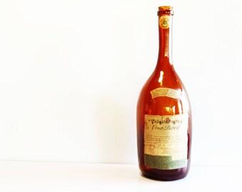 1 Vintage big orange glass bottle Barolo wine 1969 - vintage glass bottle - wine bottle - old bottle - italian glass bottle - langhe wine