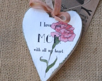 Wooden Heart Ornament, Personalized for Mom, Mother's Day Ornament, Pink Carnation Ornament, Mothers Day, Mothers Day Gift, Gift for Mom