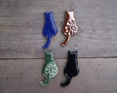 Ceramic cat magnets, cat gift, gift for cat lovers, refrigerator magnets, blue cat, black cat, gold cat, handmade magnet, green cat, cat