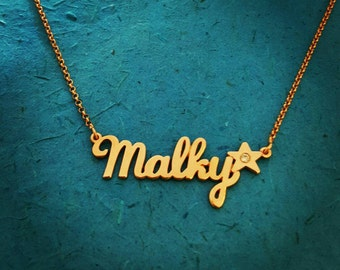 Gold Star Pendant Name Necklace Star Birthstone necklace  Personalized Necklace Bridesmaid Gift Wedding My Name On Necklace Birthstone