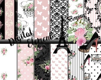 Digital Paper, Paris Floral Paper, digital Scrapbook Paper, Pink Floral Paper, Paris Eifel Tower Printable Paper. No. P192