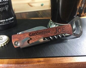 Engraved Bottle Opener, Groomsman Gift, Personalized Bottle Opener, Wine Opener, Wood Bottle Opener, Groomsmen Bottle Opener, Wedding Gift