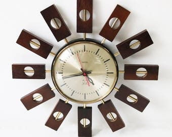 Rare teak atomic starburst clock by Smiths 1960s