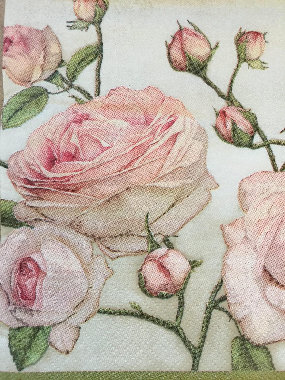 4 Paper Napkins For Decoupage Pink Roses Set Party Napkins