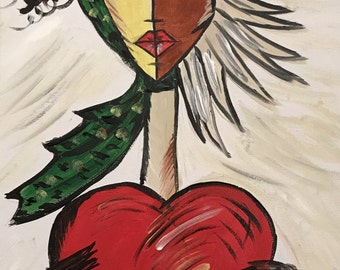 Hand painted acrylic painting. Woman. Peace