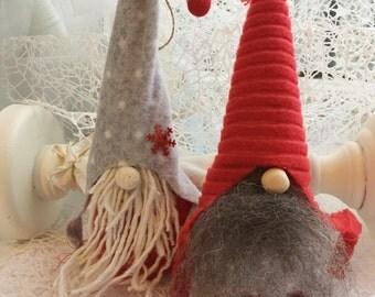 Set of 2 Handmade Swedish Tomte , Nisse, Santa, Handmade Scandinavian Gnome, Christmas Decoration, Christmas Gift