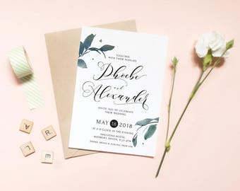 Wedding Invitation RSVP Set - Modern Greenery & Calligraphy