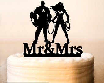 Wedding cake topper,Wonder Woman and Captain America Cake Toppers,Wonder Woman Wedding,Cake Toppers Superheroes,Custom Wedding (0172)