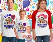 15% OFF Paw Patrol Birthday Shirt - Paw Patrol Shirt -Raglan paw patrol  inspired family birthday theme shirt/paw patrol party shirt/137-138