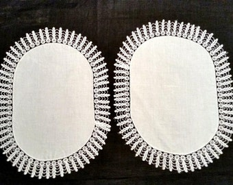 Antique Doily Pair, Handmade, Lace and Linen, Oval Vanity Doilies, Boudoir Decor