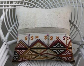 "white color embroidery Turkish kilim cushions  16""x16 coussin kilim pillowcase  pillows 16x16 geometric pillow home decor 2120"
