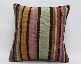 "Decorative Pillow Kilim Cushion Case Turkey Kilim Pillow Handwoven Turkish Kilim Pillows 16"" x 16"" 40cm x 40cm Cushion Cover  2411"