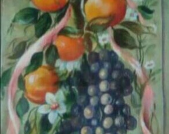 Garnish with fruit and flowers pink bow on canvas Panel. Painted entirely by hand and finished with wax.