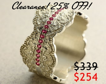 CLEARANCE 25% OFF! Silver Pink Sapphires Ring with Lace Texture, Sapphire Wedding Ring, Silver Sapphire Ring, Silver Ring Size 7.5