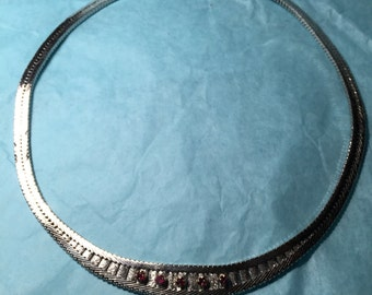 Silver vintage  necklace with rubin
