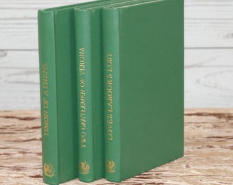 3 x 1904 Leather Bound  Gift Editions of William Shakespeare Plays: Timon, Love's Labour's Lost and Two Gentlemen of Verona