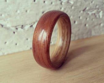 Handmade Bentwood Ring - Brazilian Mahogany on an Olive Ash (Ash) Lining