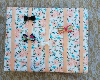 Light Coral Flowers Hair Bow & Headband Organizer /Padded Hair Bow Organizer with Hooks for Headbands/Head Band organizer