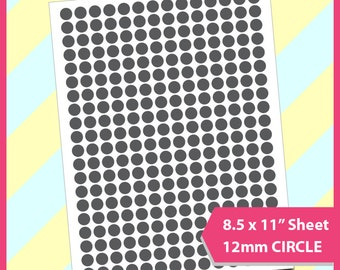 "12mm circle Template,  Instant Download, PSD, PNG and SVG Formats,  8.5x11"" sheet printable, Diy 069"