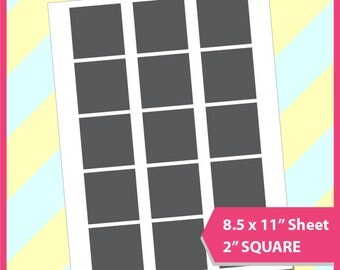 """Instant Download, 2"""" Square Template, cupcake topper, PSD, PNG and SVG Formats,  8.5x11"""" sheet,  Printable 077"""